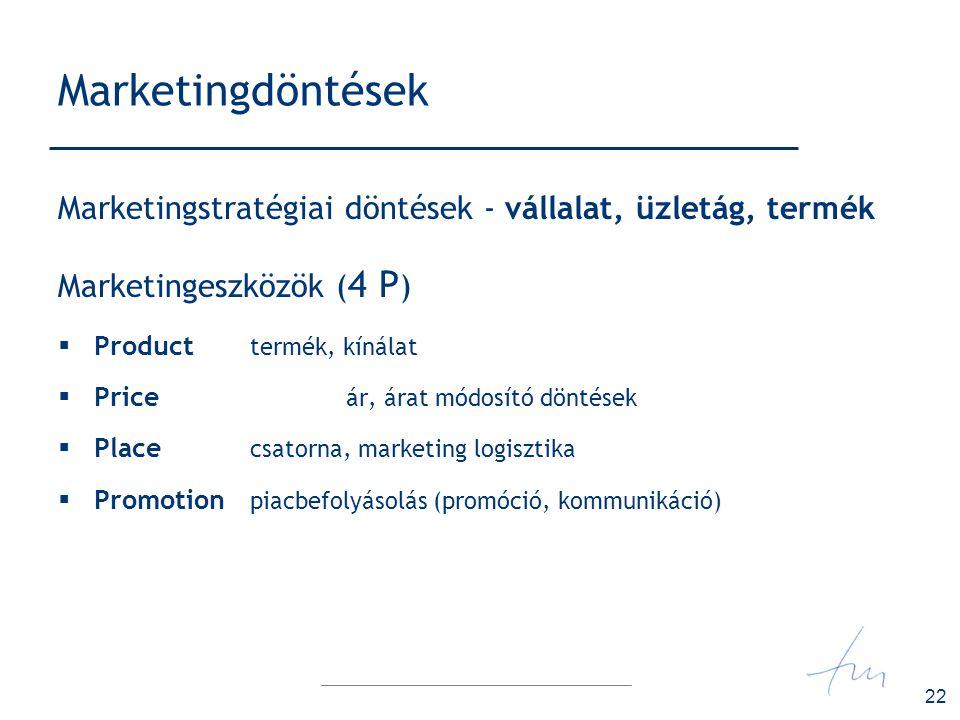 22 Marketingdöntések Marketingstratégiai döntések - vállalat, üzletág, termék Marketingeszközök ( 4 P )  Product termék, kínálat  Price ár, árat mód
