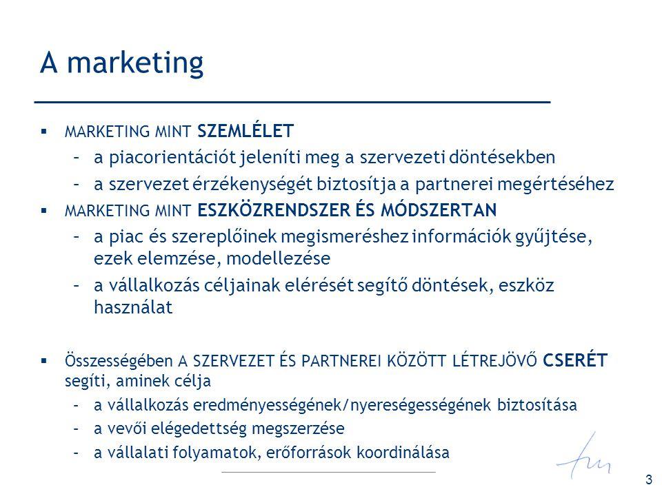 4 A marketing fejlődése termelés-orientáció marketing mint értékesítési funkció kezdetek termék-orientáció vevő igényeinek előtérbe állítása a termékfejlesztésben is 1960-es évek értékesítés-orientáció együttműködés a túlkínálat legyőzésére 1970-es évek marketing-orientáció megkülönböztetés a konkurenciától, stratégiai marketing 1990-as évek társadalmi marketing- orientáció a társadalmi felelősség versenytényezővé alakulása 2000-es évek
