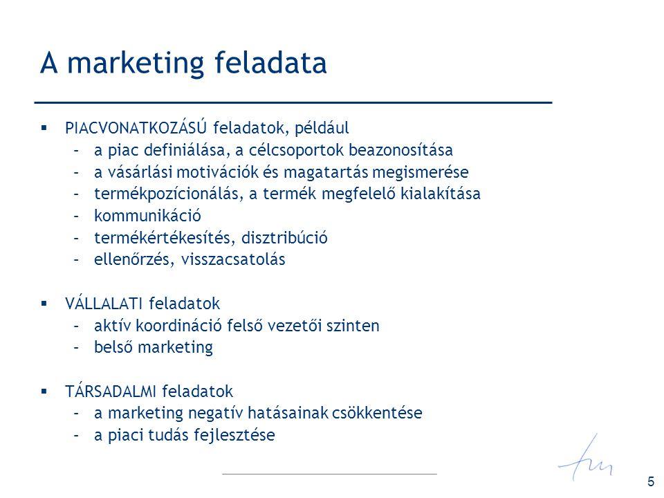 5 A marketing feladata  PIACVONATKOZÁSÚ feladatok, például –a piac definiálása, a célcsoportok beazonosítása –a vásárlási motivációk és magatartás me