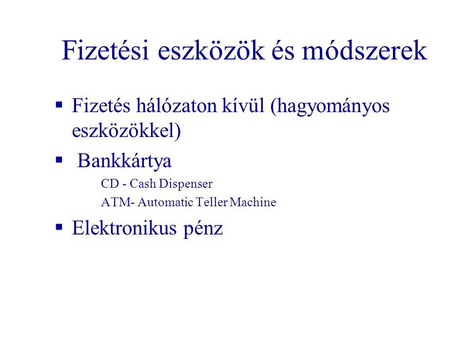 Fizetési eszközök és módszerek  Fizetés hálózaton kívül (hagyományos eszközökkel)  Bankkártya CD - Cash Dispenser ATM- Automatic Teller Machine  Elektronikus pénz