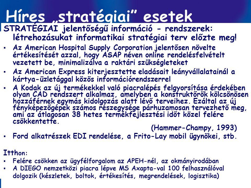 """Információ-menedzsment/ Dobay 8. előadás GINFO 2010 ősz 12 / 57 Híres """"stratégiai"""" esetek STRATÉGIAI jelentőségű információ - rendszerek: létrehozásuk"""