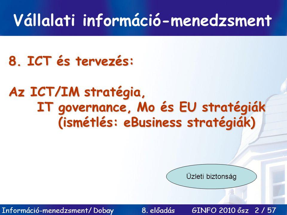 Információ-menedzsment/ Dobay 8. előadás GINFO 2010 ősz 2 / 57 8. ICT és tervezés: Az ICT/IM stratégia, IT governance, Mo és EU stratégiák (ismétlés: