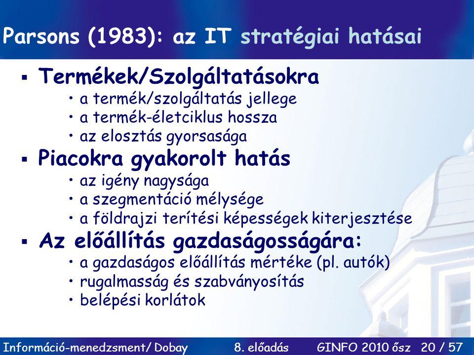 Információ-menedzsment/ Dobay 8. előadás GINFO 2010 ősz 20 / 57 Parsons (1983): az IT stratégiai hatásai  Termékek/Szolgáltatásokra a termék/szolgált