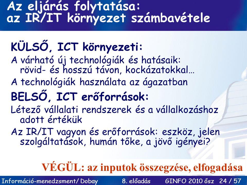 Információ-menedzsment/ Dobay 8. előadás GINFO 2010 ősz 24 / 57 Az eljárás folytatása: az IR/IT környezet számbavétele KÜLSŐ, ICT környezeti: A várhat