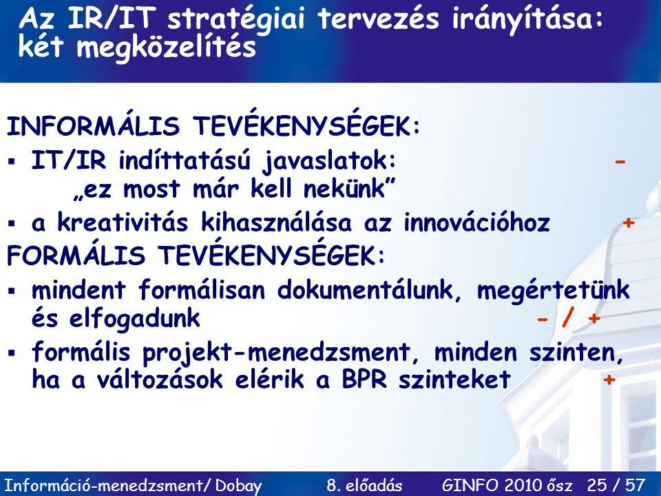 Információ-menedzsment/ Dobay 8. előadás GINFO 2010 ősz 25 / 57 Az IR/IT stratégiai tervezés irányítása: két megközelítés INFORMÁLIS TEVÉKENYSÉGEK: 