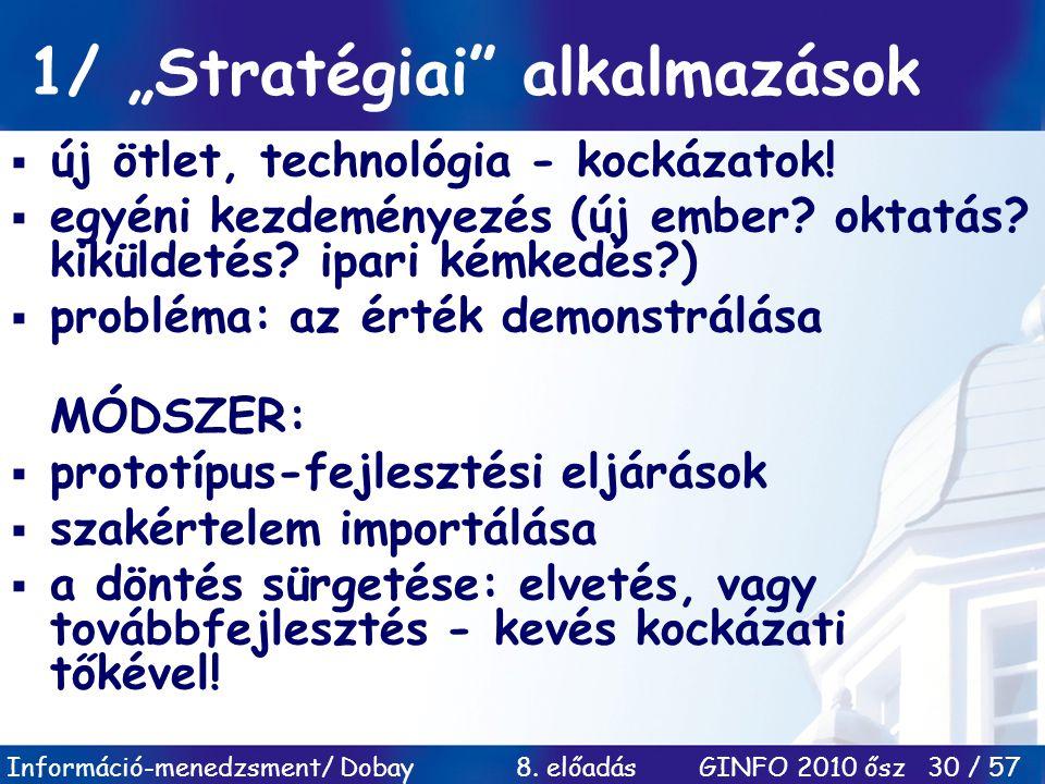 """Információ-menedzsment/ Dobay 8. előadás GINFO 2010 ősz 30 / 57 1/ """"Stratégiai"""" alkalmazások  új ötlet, technológia - kockázatok!  egyéni kezdeménye"""