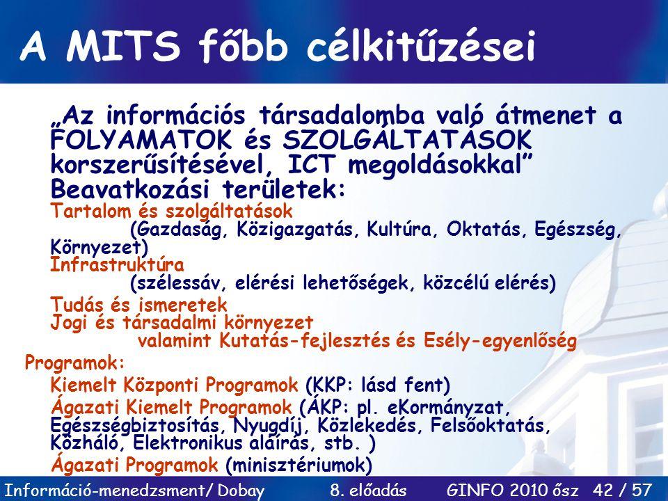 """Információ-menedzsment/ Dobay 8. előadás GINFO 2010 ősz 42 / 57 A MITS főbb célkitűzései """"Az információs társadalomba való átmenet a FOLYAMATOK és SZO"""