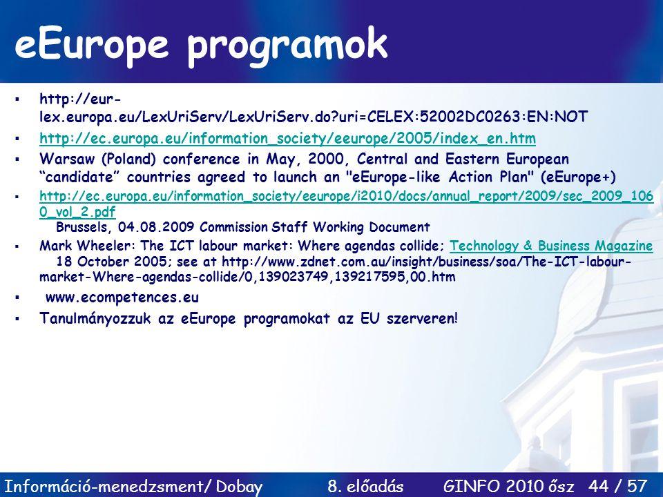 Információ-menedzsment/ Dobay 8. előadás GINFO 2010 ősz 44 / 57 eEurope programok  http://eur- lex.europa.eu/LexUriServ/LexUriServ.do?uri=CELEX:52002