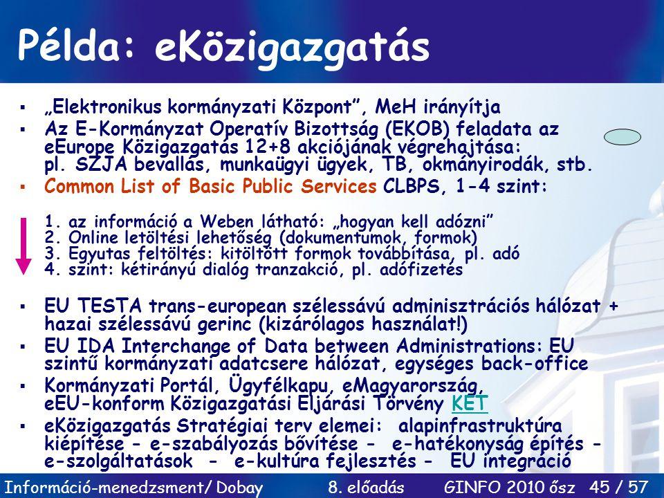 """Információ-menedzsment/ Dobay 8. előadás GINFO 2010 ősz 45 / 57 Példa: eKözigazgatás  """"Elektronikus kormányzati Központ"""", MeH irányítja  Az E-Kormán"""