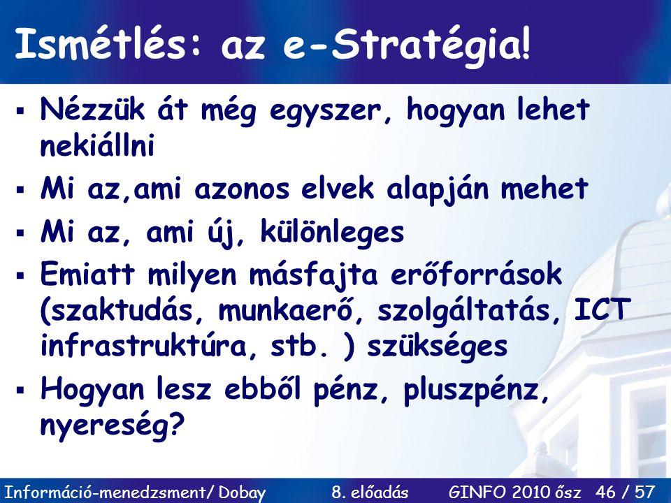Információ-menedzsment/ Dobay 8. előadás GINFO 2010 ősz 46 / 57 Ismétlés: az e-Stratégia!  Nézzük át még egyszer, hogyan lehet nekiállni  Mi az,ami