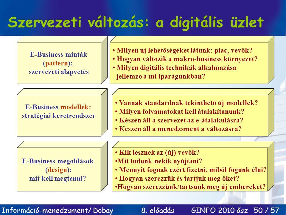 Információ-menedzsment/ Dobay 8. előadás GINFO 2010 ősz 50 / 57 Szervezeti változás: a digitális üzlet E-Business minták (pattern): szervezeti alapvet