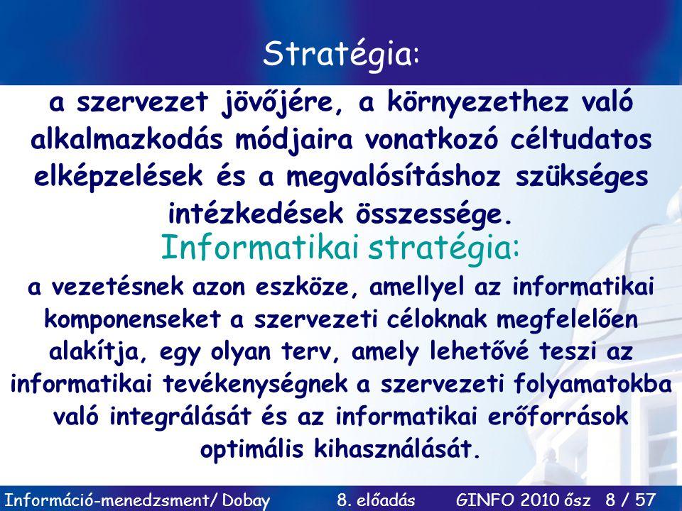Információ-menedzsment/ Dobay 8. előadás GINFO 2010 ősz 8 / 57 Stratégia : a szervezet jövőjére, a környezethez való alkalmazkodás módjaira vonatkozó