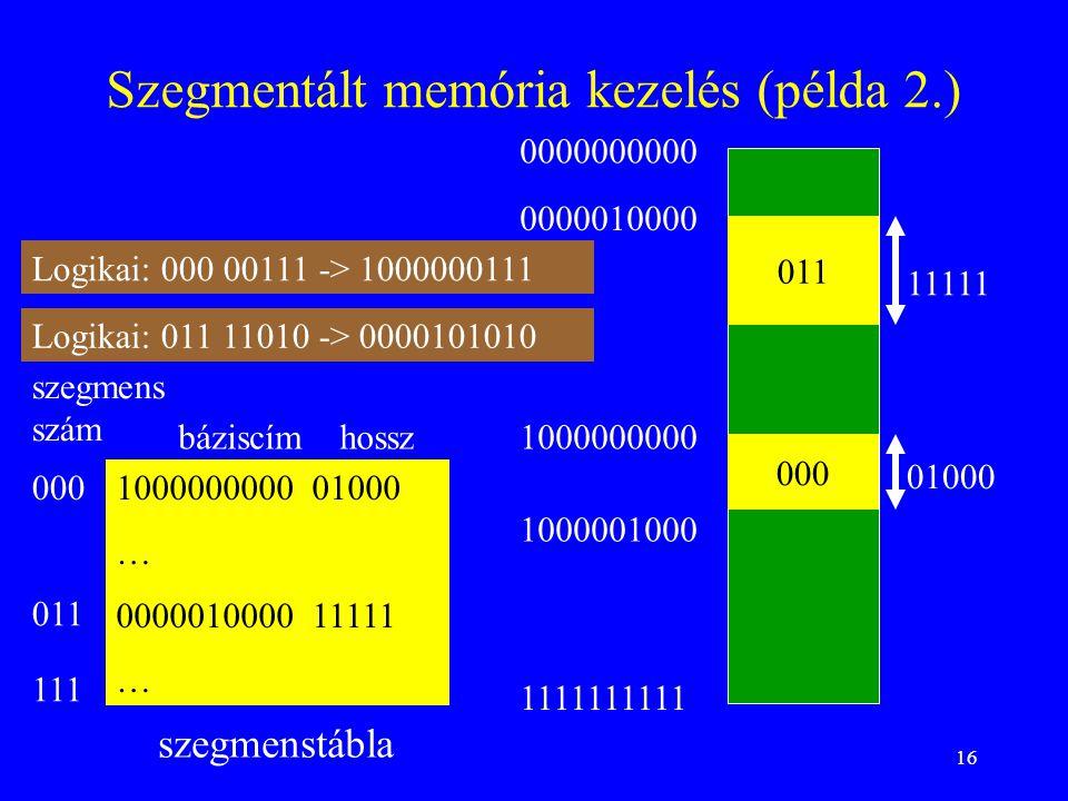 16 Szegmentált memória kezelés (példa 2.) szegmenstábla báziscímhossz szegmens szám 011 0000010000 11111 Logikai: 000 00111 -> 1000000111 1000000000 0