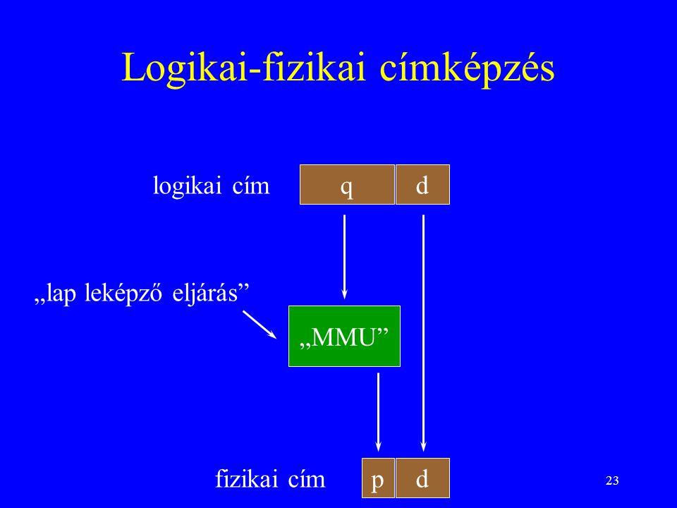 """23 Logikai-fizikai címképzés qd p logikai cím fizikai cím d """"MMU"""" """"lap leképző eljárás"""""""