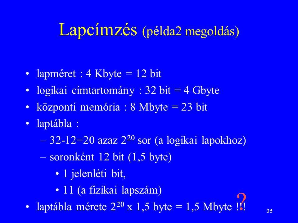 35 Lapcímzés (példa2 megoldás) lapméret : 4 Kbyte = 12 bit logikai címtartomány : 32 bit = 4 Gbyte központi memória : 8 Mbyte = 23 bit laptábla : –32-