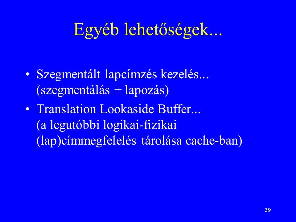 39 Egyéb lehetőségek... Szegmentált lapcímzés kezelés... (szegmentálás + lapozás) Translation Lookaside Buffer... (a legutóbbi logikai-fizikai (lap)cí