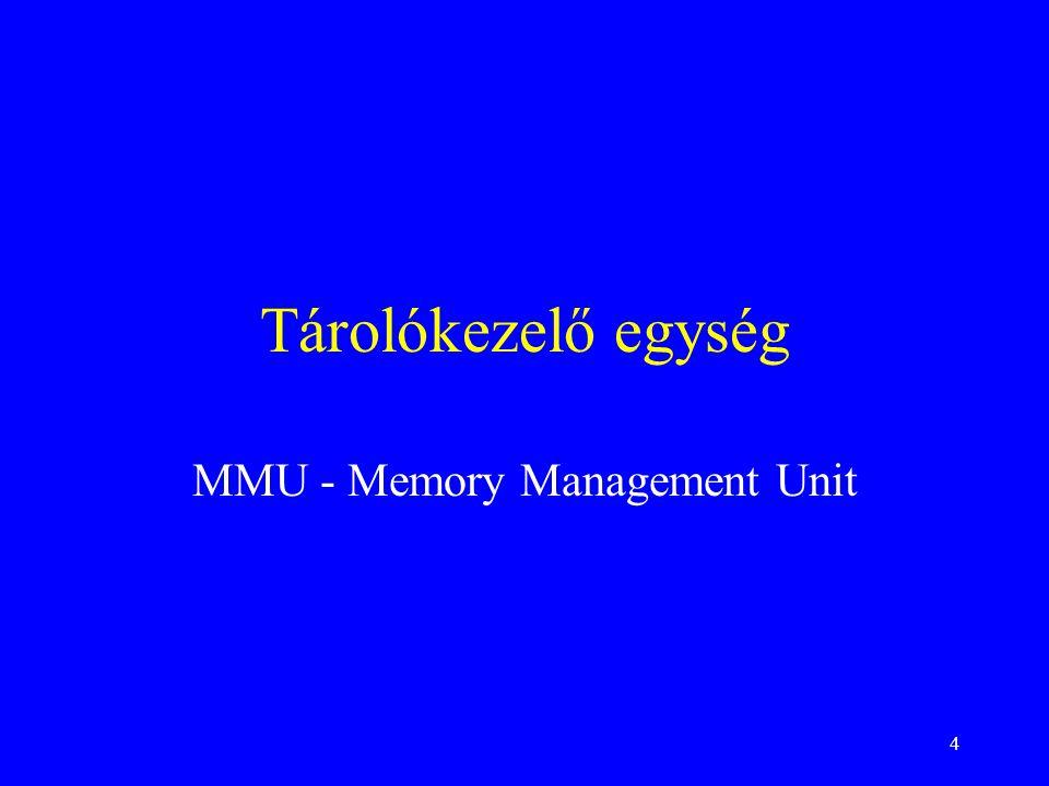 4 Tárolókezelő egység MMU - Memory Management Unit