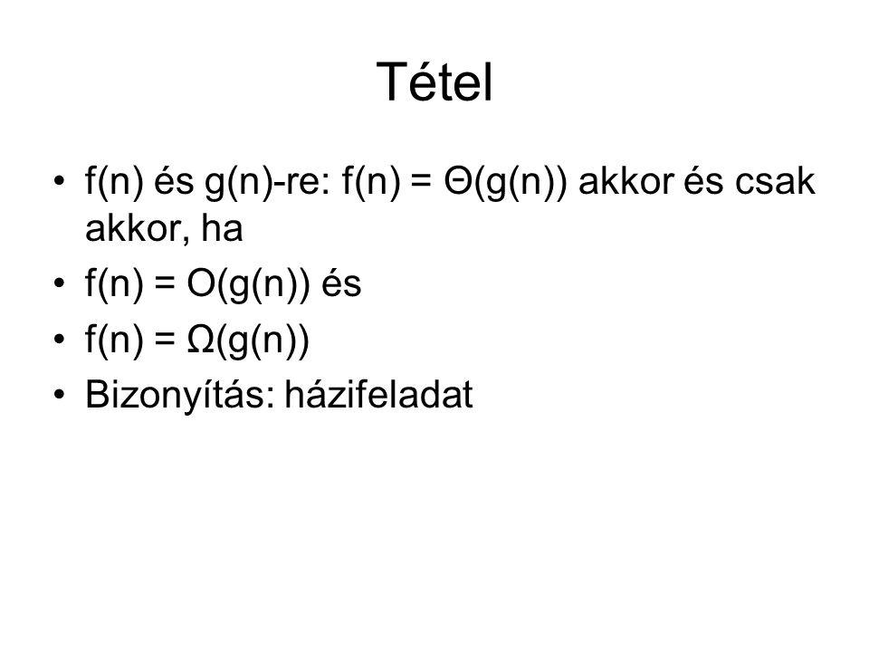 Tétel f(n) és g(n)-re: f(n) = Θ(g(n)) akkor és csak akkor, ha f(n) = O(g(n)) és f(n) = Ω(g(n)) Bizonyítás: házifeladat