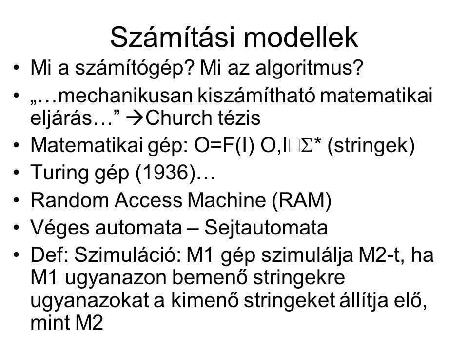 """Számítási modellek Mi a számítógép? Mi az algoritmus? """"…mechanikusan kiszámítható matematikai eljárás…""""  Church tézis Matematikai gép: O=F(I) O,I """