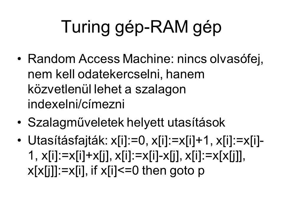 Turing gép-RAM gép Random Access Machine: nincs olvasófej, nem kell odatekercselni, hanem közvetlenül lehet a szalagon indexelni/címezni Szalagművelet