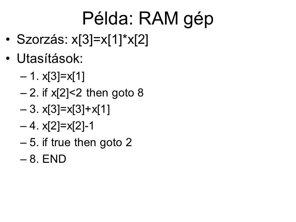 Példa: RAM gép Szorzás: x[3]=x[1]*x[2] Utasítások: –1. x[3]=x[1] –2. if x[2]<2 then goto 8 –3. x[3]=x[3]+x[1] –4. x[2]=x[2]-1 –5. if true then goto 2