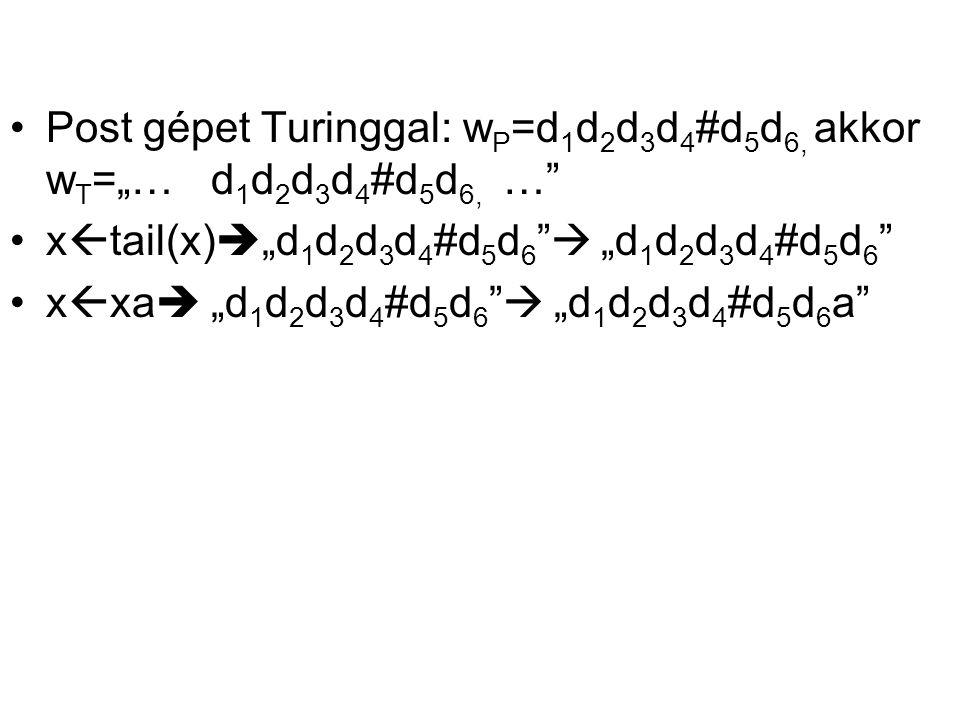 "Post gépet Turinggal: w P =d 1 d 2 d 3 d 4 #d 5 d 6, akkor w T =""… d 1 d 2 d 3 d 4 #d 5 d 6, …"" x  tail(x)  ""d 1 d 2 d 3 d 4 #d 5 d 6 ""  ""d 1 d 2 d"