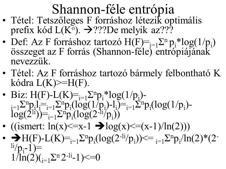 Shannon-féle entrópia Tétel: Tetszőleges F forráshoz létezik optimális prefix kód L(K o ).  ???De melyik az??? Def: Az F forráshoz tartozó H(F)= i=1