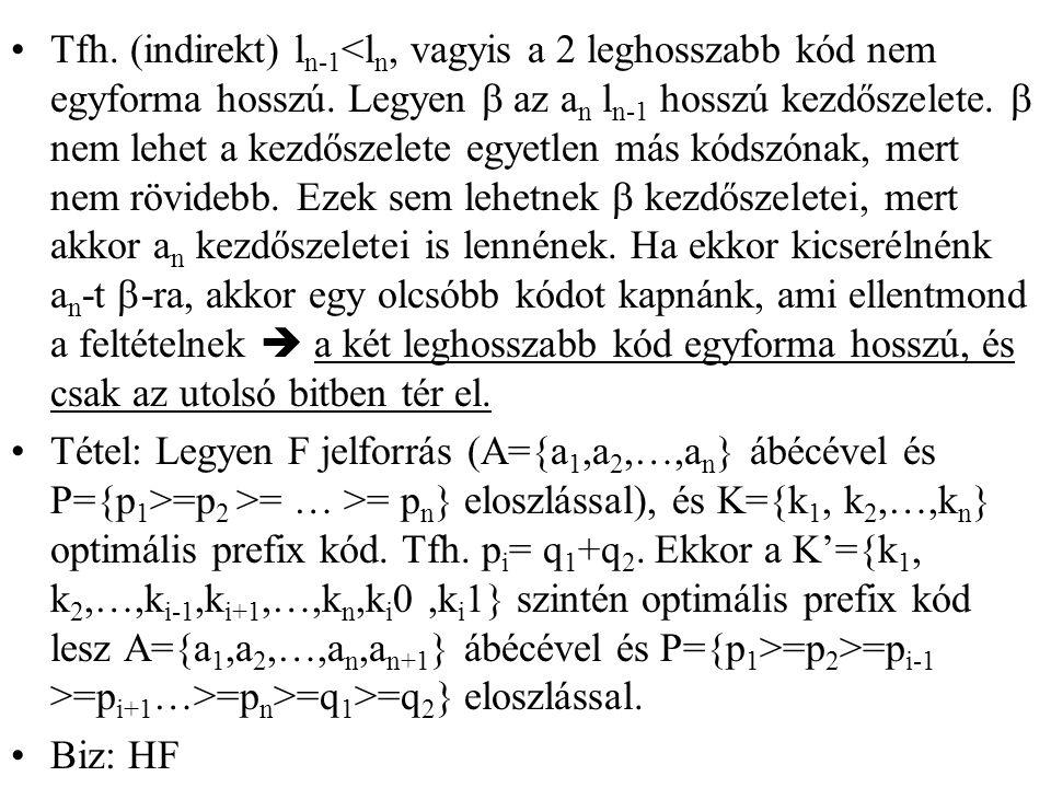Tfh. (indirekt) l n-1 <l n, vagyis a 2 leghosszabb kód nem egyforma hosszú. Legyen  az a n l n-1 hosszú kezdőszelete.  nem lehet a kezdőszelete egye