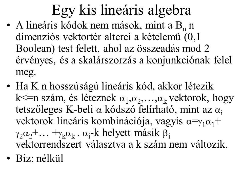 Egy kis lineáris algebra A lineáris kódok nem mások, mint a B n n dimenziós vektortér alterei a kételemű (0,1 Boolean) test felett, ahol az összeadás