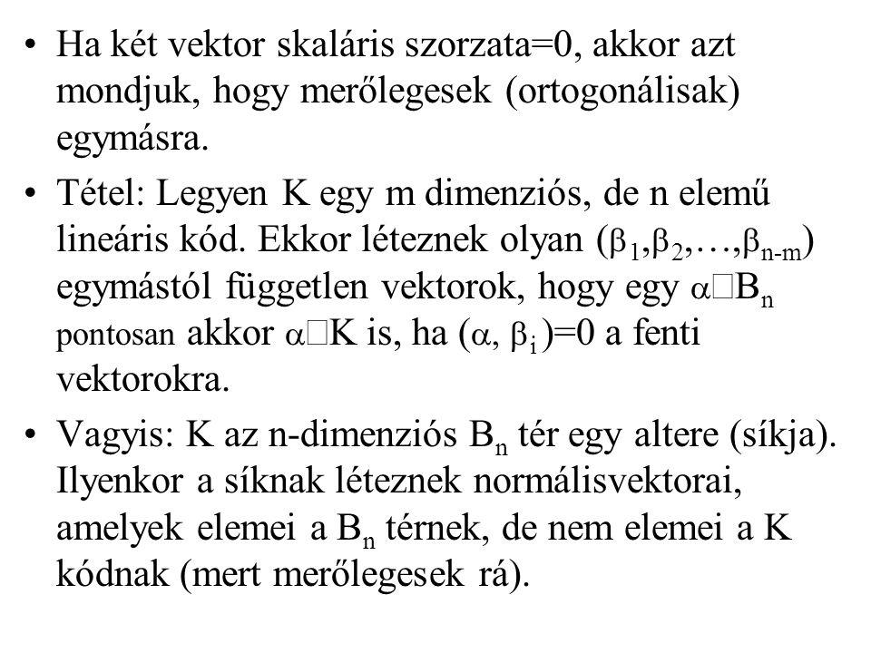 Ha két vektor skaláris szorzata=0, akkor azt mondjuk, hogy merőlegesek (ortogonálisak) egymásra. Tétel: Legyen K egy m dimenziós, de n elemű lineáris
