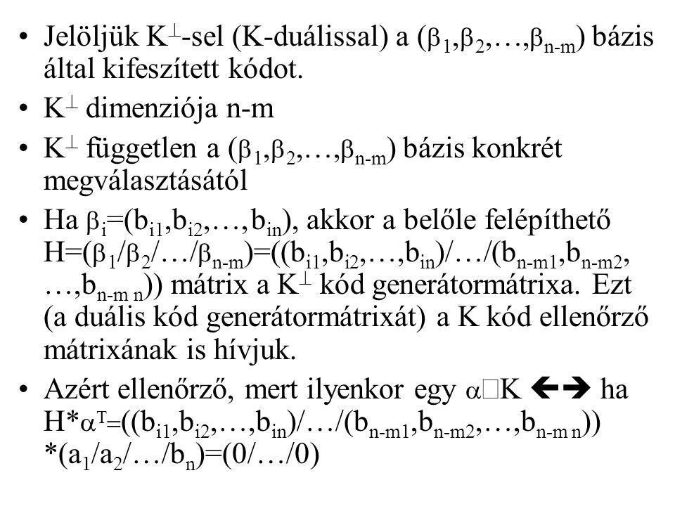 Jelöljük K  -sel (K-duálissal) a (  1,  2,…,  n-m ) bázis által kifeszített kódot. K  dimenziója n-m K  független a (  1,  2,…,  n-m ) bázis
