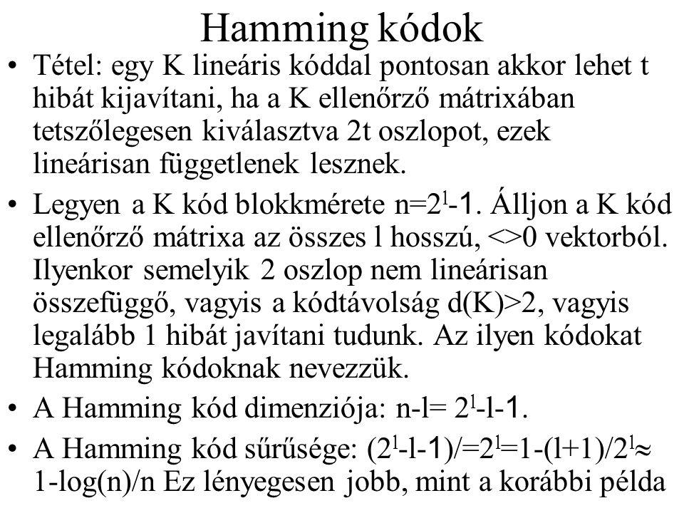 Hamming kódok Tétel: egy K lineáris kóddal pontosan akkor lehet t hibát kijavítani, ha a K ellenőrző mátrixában tetszőlegesen kiválasztva 2t oszlopot,