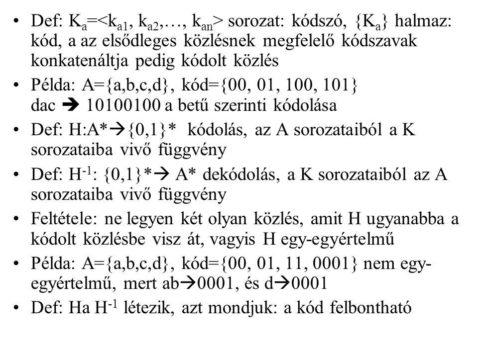 Def: K a = sorozat: kódszó, {K a } halmaz: kód, a az elsődleges közlésnek megfelelő kódszavak konkatenáltja pedig kódolt közlés Példa: A={a,b,c,d}, kó