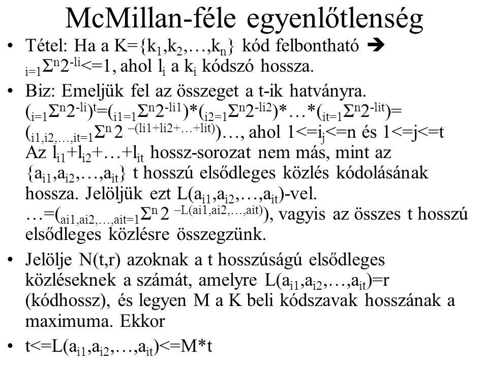McMillan-féle egyenlőtlenség Tétel: Ha a K={k 1,k 2,…,k n } kód felbontható  i=1 Σ n 2 -li <=1, ahol l i a k i kódszó hossza. Biz: Emeljük fel az öss