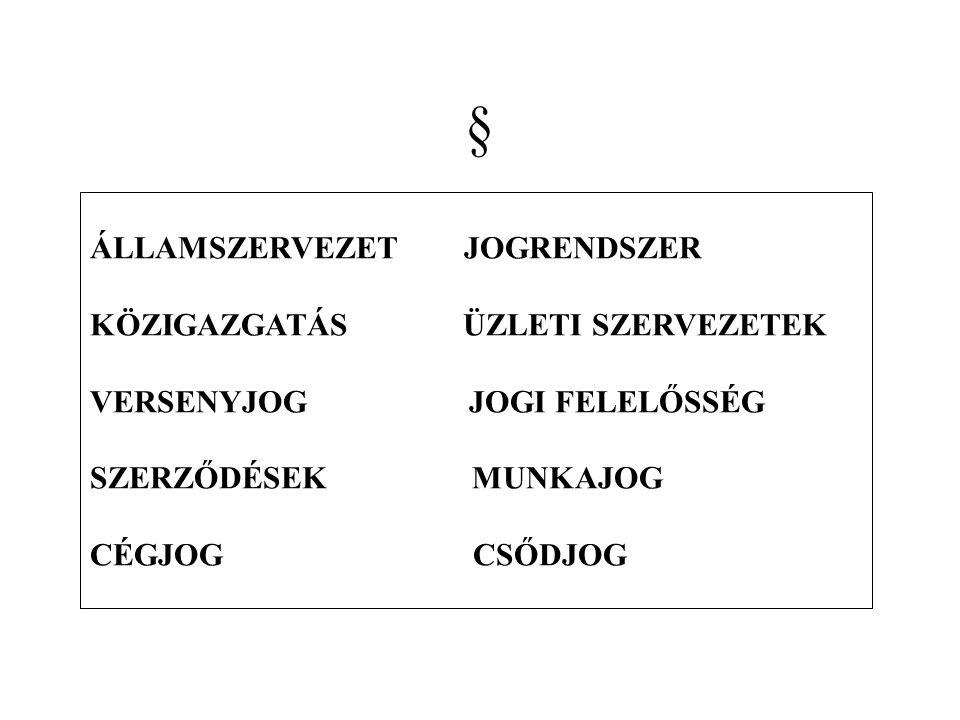 GAZDASÁGI STÁTUSJOG I.