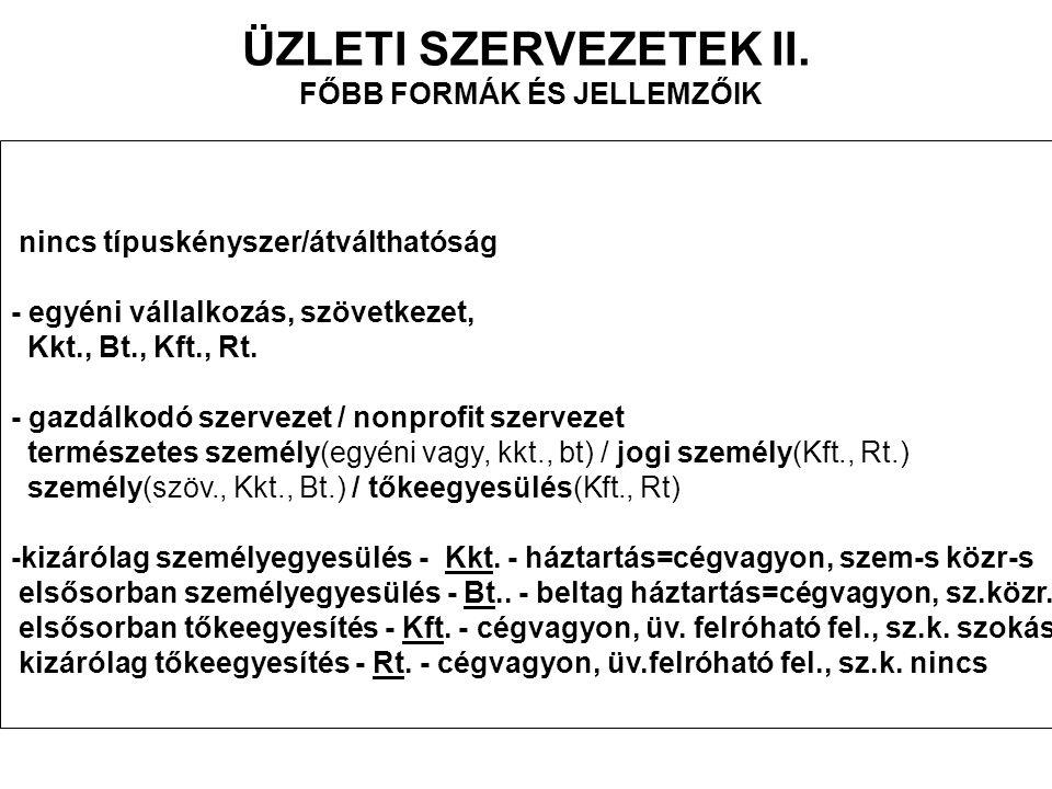 ÜZLETI SZERVEZETEK II.