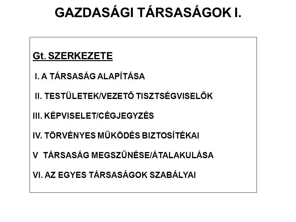 GAZDASÁGI TÁRSASÁGOK I.Gt. SZERKEZETE I. A TÁRSASÁG ALAPÍTÁSA II.