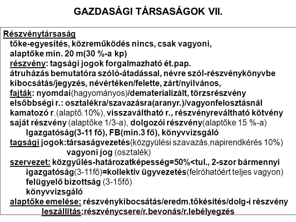 GAZDASÁGI TÁRSASÁGOK VII.