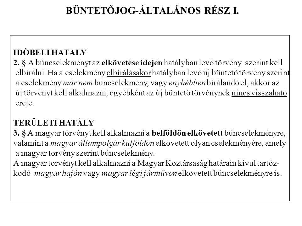 BÜNTETŐJOG-ÁLTALÁNOS RÉSZ I.IDŐBELI HATÁLY 2.