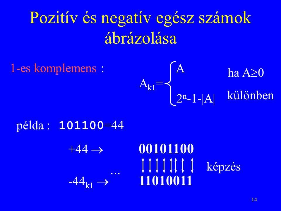 14 1-es komplemens : Pozitív és negatív egész számok ábrázolása 101100 =44 példa :... képzés különben ha A  0 +44  00101100 -44 k1  11010011 A A k1
