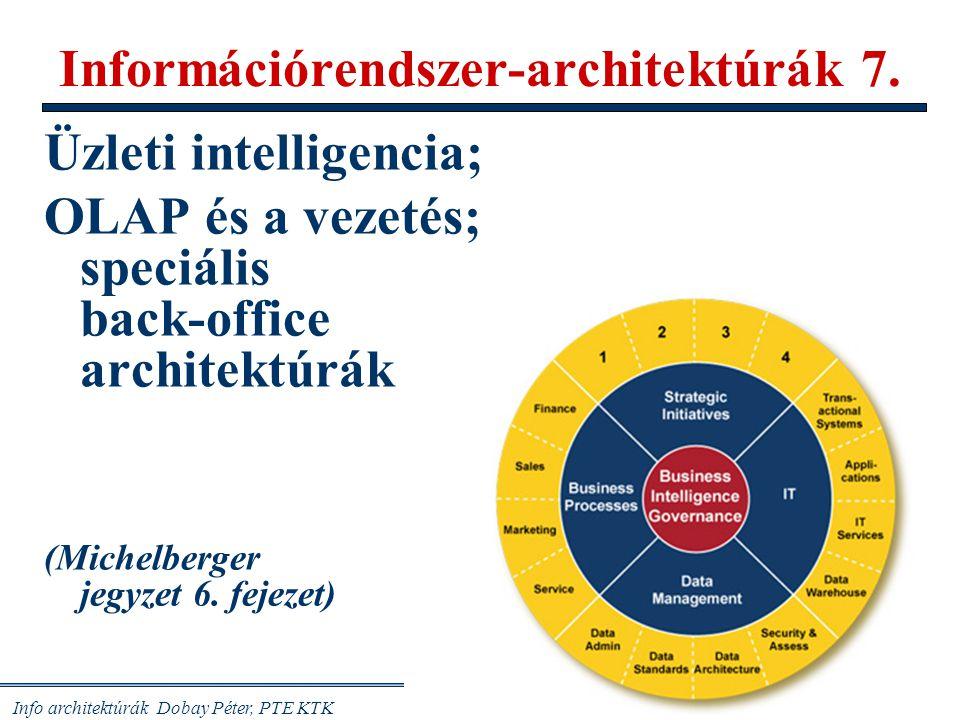 """Info architektúrák Dobay Péter, PTE KTK 32/41 Codd: az OLAP IR 12 jellemzője 1/ Sokdimenziós világnézet, több, mint a kettős relációk, táblázatok 2/ Átláthatóság: tudja, hogyan működik; értse, mit csinál 3/ Hozzáférhetőség, """"any time, anywhere : adatbányászás 4/ Egyenletes lekérdezési teljesítmény: nem kell máshova fordulni 5/ Kliens/szerver architektúra: saját szerverrel 6/ Többdimenziós felépítés, kiválasztható dimenziók 7/ Dinamikus ritkamátrix-kezelés (gyorsaság kontra adattömeg) 8/ Többfelhasználós üzemmód, globalitás miatt 9/ Korlátlan műveletvégzés, bármilyen (típusú, dimenziójú) adattal 10/ Intuitív adatkezelés: minimális billentyűzés, egér, beszédvezérlés 11/ Rugalmas megjelenítés: """"AnyForm reprezentáció 12/ Korlátlan dimenziószámok (15-19 adat-dimenzió, korlátlan összegzések, drill-down, stb.) Példák: SAP, ORACLE Express, Exact EIS, Comshare Commander,..."""