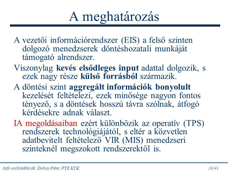 Info architektúrák Dobay Péter, PTE KTK 10/41 A meghatározás A vezetői információrendszer (EIS) a felső szinten dolgozó menedzserek döntéshozatali mun