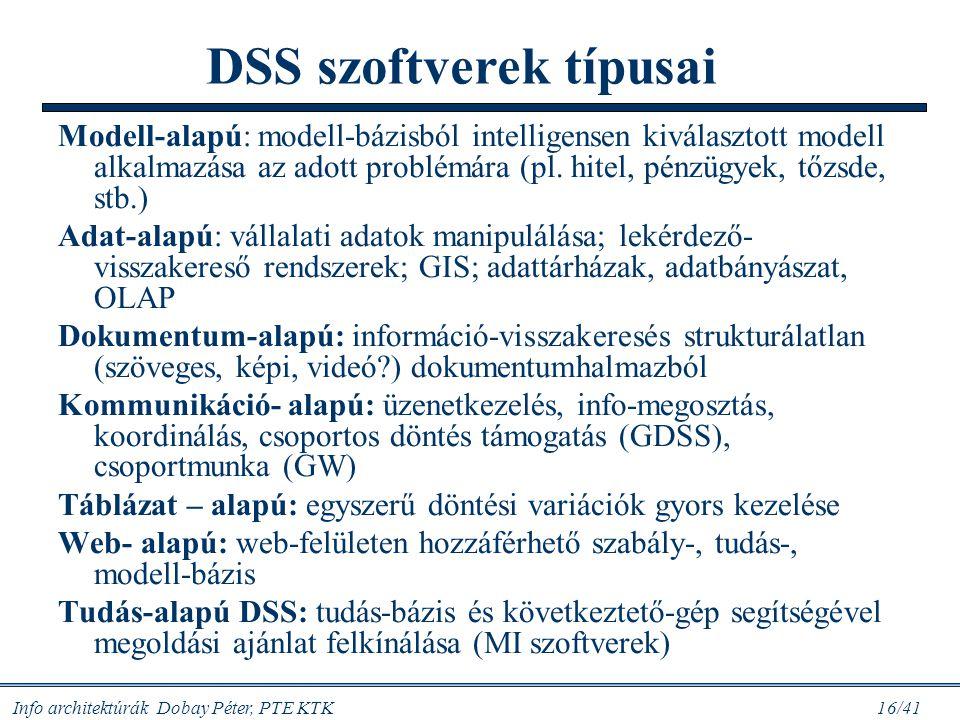 Info architektúrák Dobay Péter, PTE KTK 16/41 Modell-alapú: modell-bázisból intelligensen kiválasztott modell alkalmazása az adott problémára (pl. hit