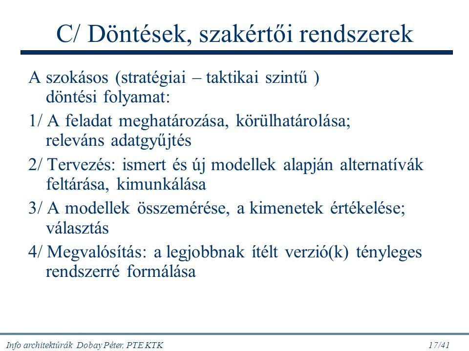 Info architektúrák Dobay Péter, PTE KTK 17/41 C/ Döntések, szakértői rendszerek A szokásos (stratégiai – taktikai szintű ) döntési folyamat: 1/ A fela
