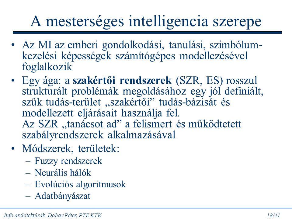 Info architektúrák Dobay Péter, PTE KTK 18/41 A mesterséges intelligencia szerepe Az MI az emberi gondolkodási, tanulási, szimbólum- kezelési képesség