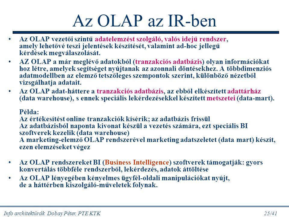 Info architektúrák Dobay Péter, PTE KTK 25/41 Az OLAP az IR-ben Az OLAP vezetői szintű adatelemzést szolgáló, valós idejű rendszer, amely lehetővé tes