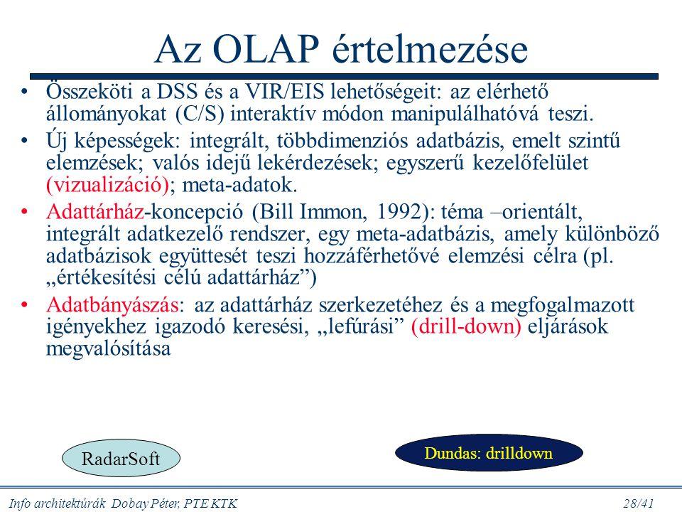 Info architektúrák Dobay Péter, PTE KTK 28/41 Az OLAP értelmezése Összeköti a DSS és a VIR/EIS lehetőségeit: az elérhető állományokat (C/S) interaktív