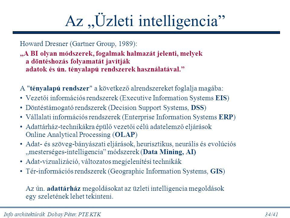 """Info architektúrák Dobay Péter, PTE KTK 34/41 Az """"Üzleti intelligencia"""" Howard Dresner (Gartner Group, 1989): """"A BI olyan módszerek, fogalmak halmazát"""