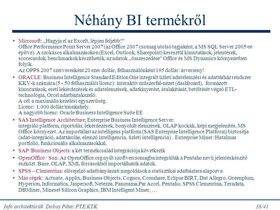 """Info architektúrák Dobay Péter, PTE KTK 38/41 Néhány BI termékről Microsoft: """"Hagyja el az Excelt, lépjen feljebb!"""" Office Performance Point Server 20"""