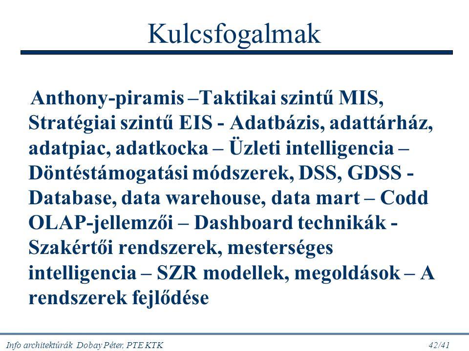 Info architektúrák Dobay Péter, PTE KTK 42/41 Kulcsfogalmak Anthony-piramis –Taktikai szintű MIS, Stratégiai szintű EIS - Adatbázis, adattárház, adatp